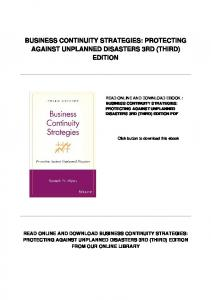 BUSINESS CONTINUITY STRATEGIES: PROTECTING AGAINST UNPLANNED DISASTERS 3RD (THIRD) EDITION