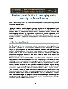Business contribution to managing water scarcity: tools and lessons