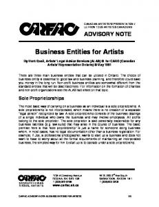 Business Entities for Artists