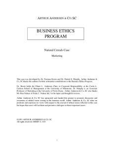 BUSINESS ETHICS PROGRAM