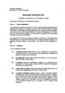 Business Information Act