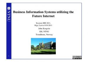 Business Information Systems utilizing the