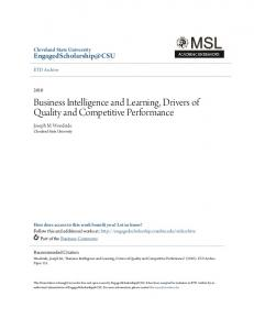 Business Intelligence and Learning, Drivers of Quality and Competitive Performance