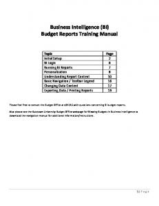 Business Intelligence (BI) Budget Reports Training Manual