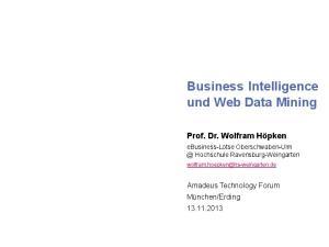Business Intelligence und Web Data Mining