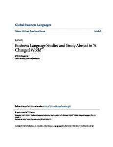 Business Language Studies and Study Abroad in A Changed World