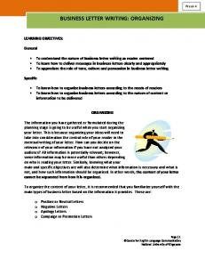 BUSINESS LETTER WRITING: ORGANIZING