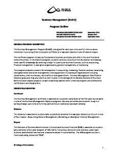 Business Management (BUAD) Program Outline