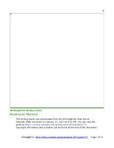 Business Memos. Writing Guide