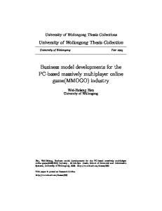 Business model developments for the PC-based massively multiplayer online game(mmogo) industry