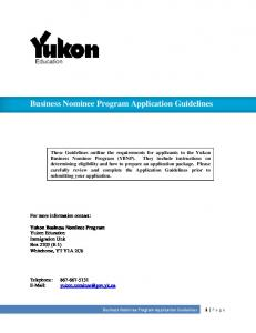 Business Nominee Program Application Guidelines