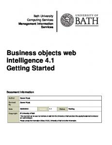 Business objects web intelligence 4.1 Getting Started