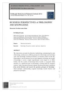 BUSINESS PERSPECTIVES of PHILOSOPHY AND KNOWLEDGE