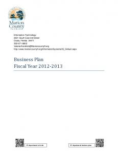 Business Plan Fiscal Year