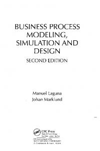 BUSINESS PROCESS MODELING, SIMULATION AND DESIGN