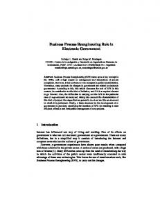 Business Process Reengineering Role in Electronic Government