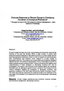Business Responses to Climate Change in Developing Countries: A Conceptual Framework *