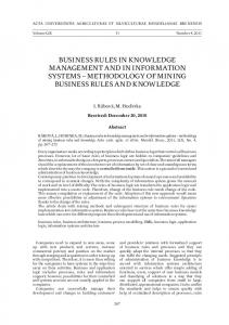 BUSINESS RULES IN KNOWLEDGE MANAGEMENT AND IN INFORMATION SYSTEMS METHODOLOGY OF MINING BUSINESS RULES AND KNOWLEDGE