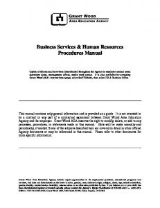 Business Services & Human Resources Procedures Manual