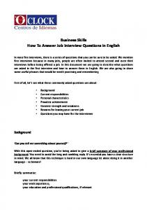 Business Skills How To Answer Job Interview Questions in English