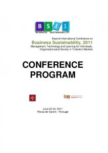 Business Sustainability, 2011 CONFERENCE PROGRAM