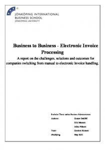 Business to Business - Electronic Invoice Processing