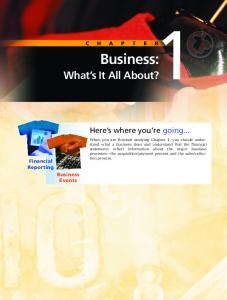 Business: What s It All About? Here s where you re going... Financial Reporting Business Events