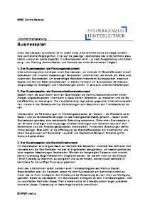 Businessplan. IWW Online-Service