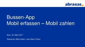 Bussen-App Mobil erfassen Mobil zahlen