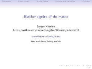 Butcher algebra of the matrix