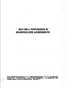 BUY-SELL PROVISIONS IN SHAREHOLDER AGREEMENTS