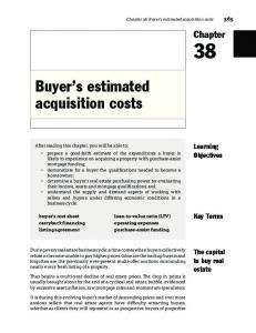 Buyer s estimated acquisition costs