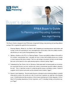 Buyer s guide. FP&A Buyer s Guide. To Planning and Reporting Systems. from Alight Planning