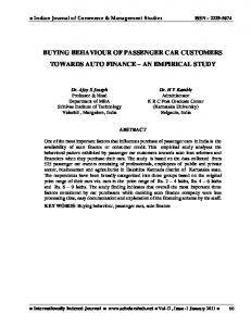 BUYING BEHAVIOUR OF PASSENGER CAR CUSTOMERS TOWARDS AUTO FINANCE AN EMPIRICAL STUDY