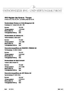 BVG-Register des Kantons Thurgau