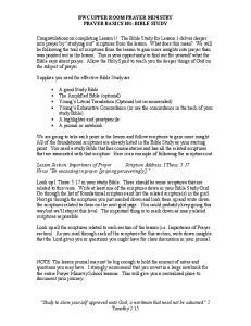 BWC UPPER ROOM PRAYER MINISTRY PRAYER BASICS 101: BIBLE STUDY