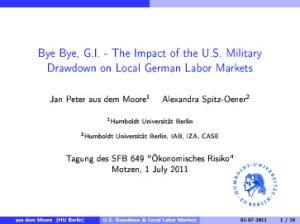 Bye Bye, G.I. - The Impact of the U.S. Military Drawdown on Local German Labor Markets