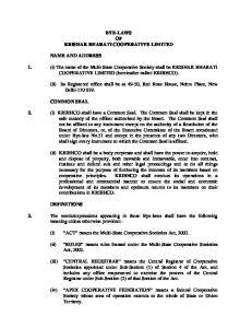 BYE-LAWS OF KRISHAK BHARATI COOPERATIVE LIMITED