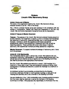 Bylaws Lincoln Hills Astronomy Group