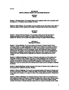 BYLAWS OF NORTH CAROLINA SOCIETY OF GASTROENTEROLOGY. ARTICLE I Offices