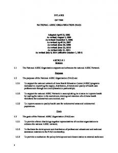 BYLAWS OF THE NATIONAL AHEC ORGANIZATION (NAO)