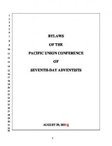 BYLAWS OF THE PACIFIC UNION CONFERENCE SEVENTH-DAY ADVENTISTS
