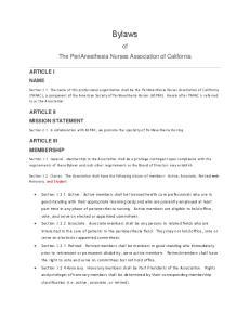 Bylaws. of The PeriAnesthesia Nurses Association of California