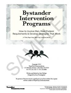 Bystander Intervention Programs SAMPLE. How to Involve Men, Meet Federal Requirements & Develop Strategies That Work