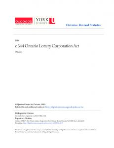 c 344 Ontario Lottery Corporation Act