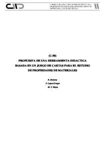 (C-58) PROPUESTA DE UNA HERRAMIENTA DIDACTICA BASADA EN UN JUEGO DE CARTAS PARA EL ESTUDIO DE PROPIEDADES DE MATERIALES
