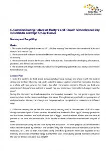 C. Commemorating Holocaust Martyrs and Heroes Remembrance Day in in Middle and High School Classes