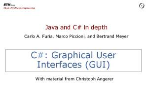 C#: Graphical User Interfaces (GUI)