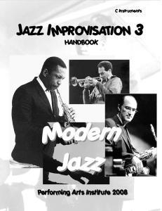 C Instruments JAZZ IMPROVISATION 3 HANDBOOK. Modern Jazz
