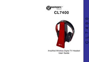 C L CL7400. Amplified Wireless Digital TV Headset User Guide
